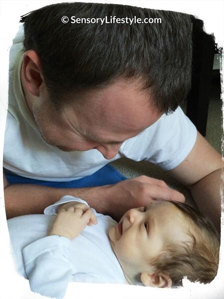 Daddy talking with Josh