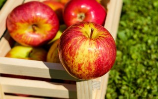 three apples on a wooden crate
