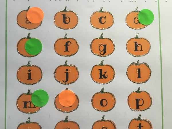 pumpkin letters worksheet with braille