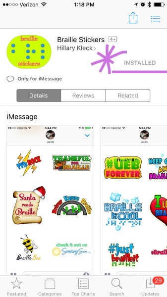 Braille Stickers in the App Store