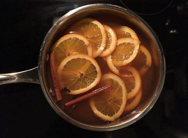 drink simmering in saucepan