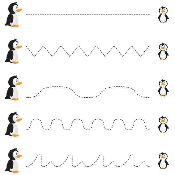 line tracking pre-braille skills practice page with penguins