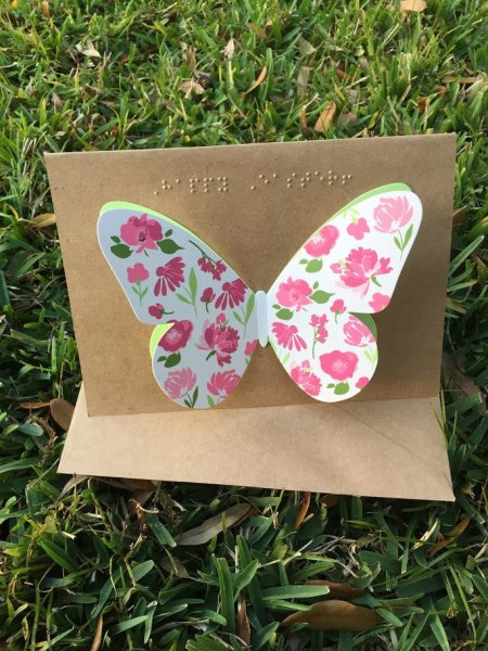 braille cards with tactile butterfly graphic