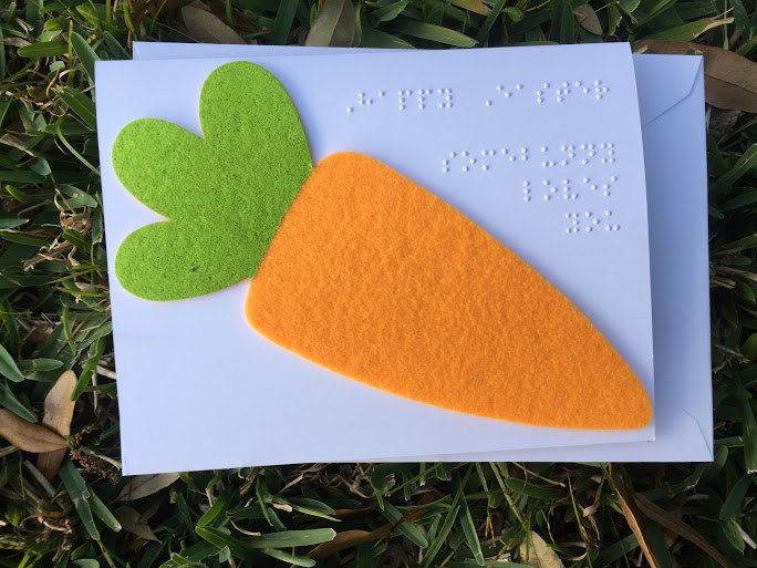 braille card with tactile felt carrot for Easter