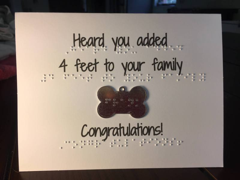 Braille Cards for people who just got a new dog, includes braille dog tag