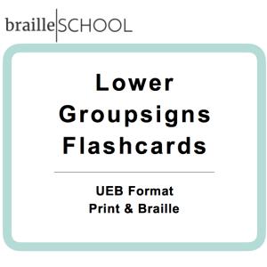 Braille School Lower Groupsigns Flashcards UEB Format Print & Braille