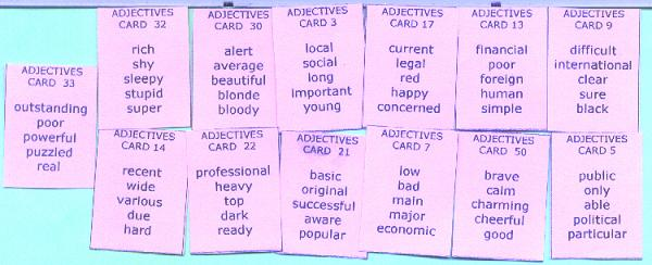 Sentence Master Practice Adjective Cards for English grammar adjective writing exercises