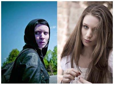 Rooney Mara before/after Lisbeth Salander