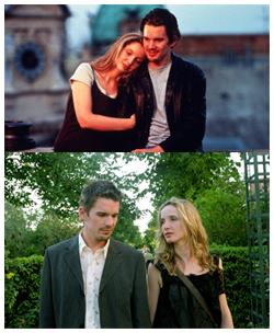 Ethan Hawke e Julie Delpy in Prima dell'alba (1995) e Prima del tramonto (2004)
