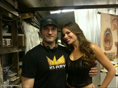 Robert Rodriguez e Sofia Vergara sul set di Machete Kills