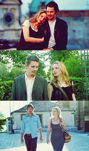 Julie Delpy e Ethan Hawke in Before Sunrise (1995) Before Sunset (2004) Before Midnight (2012)