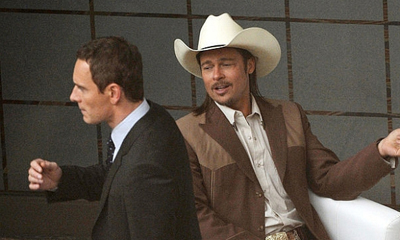 Michael Fassbender e Brad Pitt sul set di The Counselor di Ridley Scott
