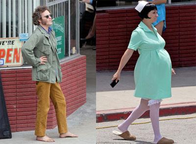 Vizio di forma, Joaquin Phoenix e Maya Rudolph sul set