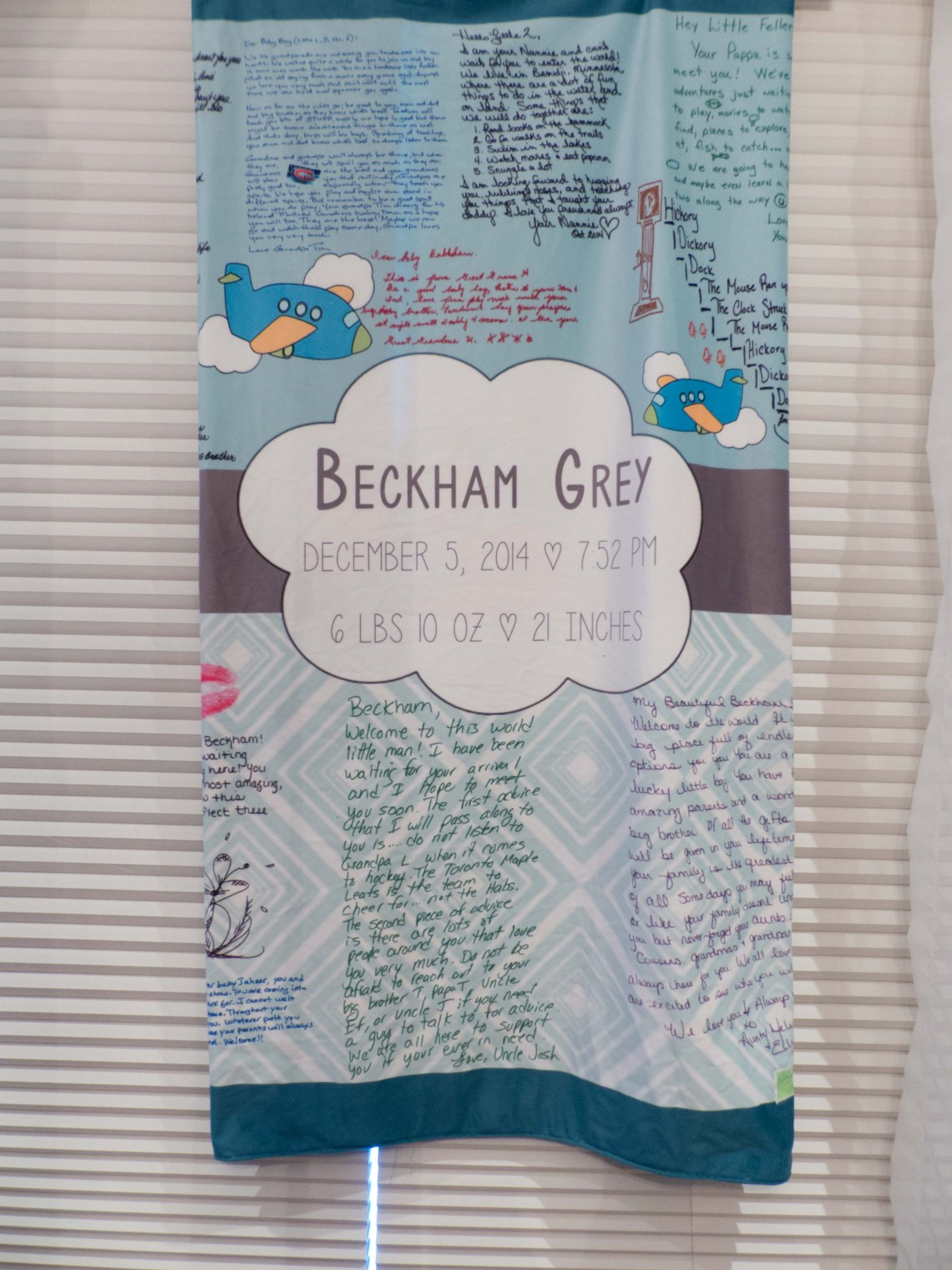 Beckham Grey Personalized Gift Blankets