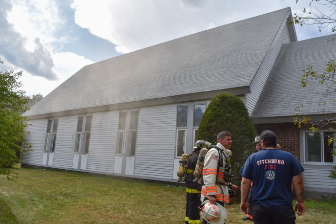 Sprinkler system and firefighters save church (image)