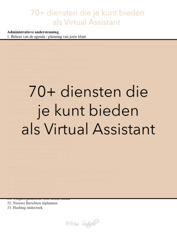 70+ diensten die je kunt bieden als Virtual Assistant