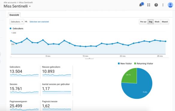 Hoe ik in november 683,36 Euro (+ 385 Euro aan barterdeals) verdiende met bloggen en werk als Virtual Assistant - Google Analytics
