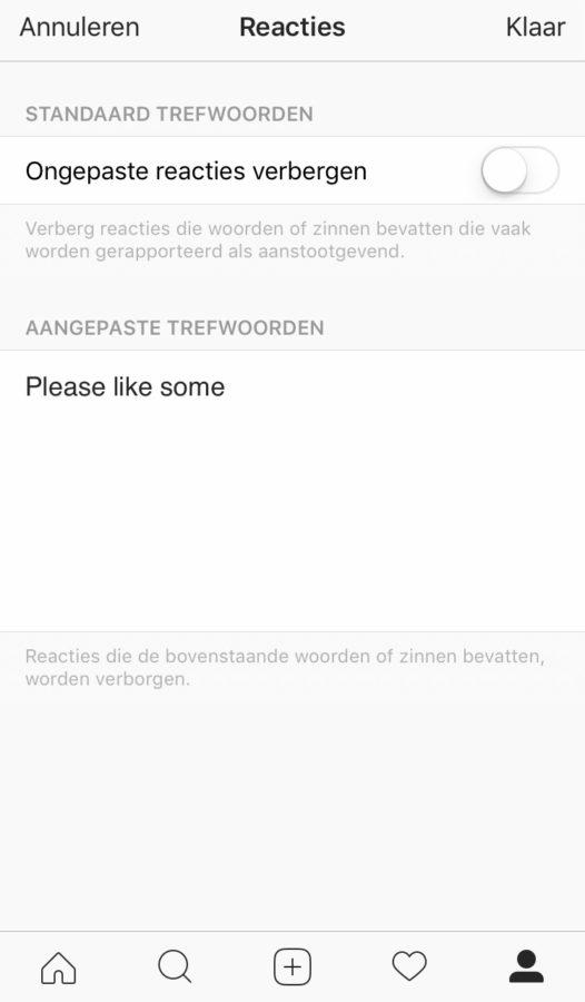 Spamreacties automatisch verbergen op Instagram