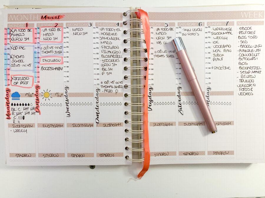 Maart planning in de JOSH V Mascha Planner - wekelijkse planning
