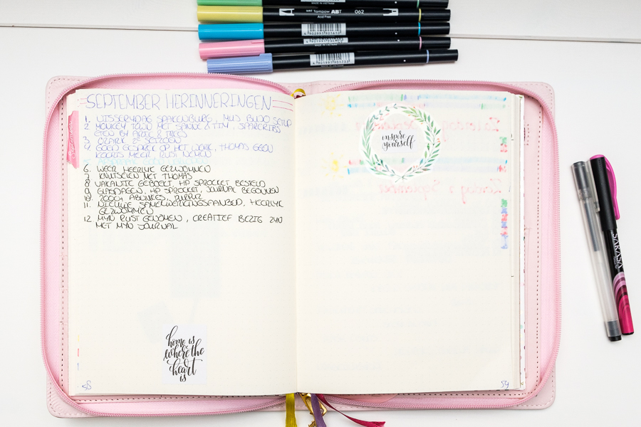 Mijn Bullet Journal september setup 2018