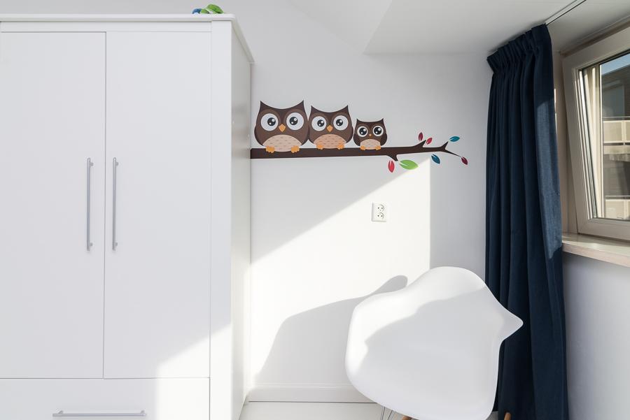 Schattige uiltjes muursticker voor de babykamer