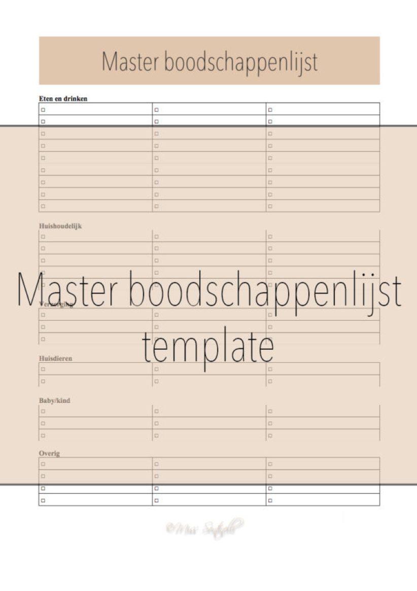 master boodschappenlijst template