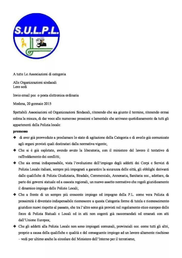 Lettera segretario generale Mario Assirelli