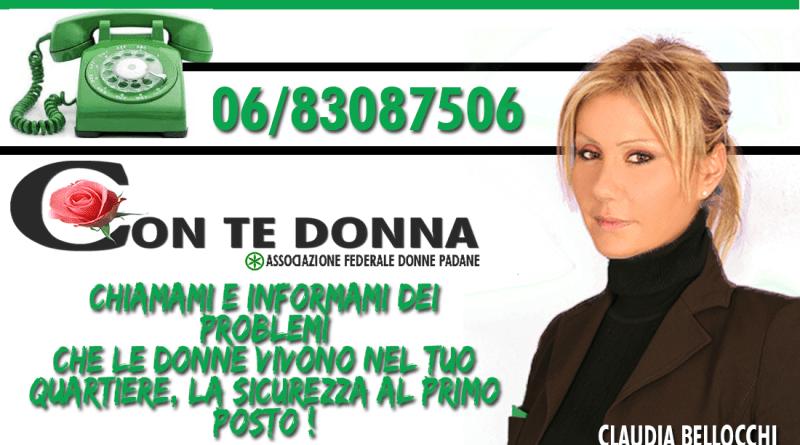 """Nasce il telefono verde legato all'Associazione Federale Donne Padane del Lazio Claudia Bellocchi -Lega nord- e """"Con te donna""""."""
