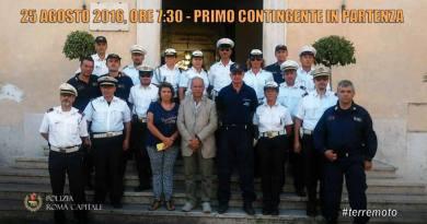 Sono partiti questa mattina gli Agenti di Polizia Locale di Roma, il primo gruppo tra le macerie per una settimana.