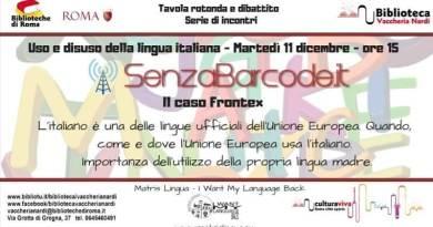 SenzaBarcode, in collaborazione conMatris Lingua, organizzata il primo incontro per discutere insieme dell'uso (o disuso) della lingua italiana nell'Unione Europea.