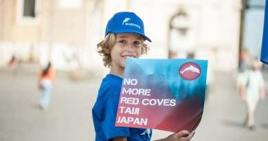 Stopmassacrodelfini. Marevivo in piazza del popolo per dire stop al massacro ingiustificato dei delfini nella baia di taiji