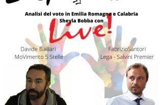 Davide Barillari e Fabrizio Santori intervengono al microfono di Sheyla Bobba su Disputandum per analizzare il voto in Emilia Romagna e in Calabria.