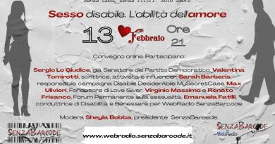 Sabato 13 febbraio, ore 21, convegno online Sesso disabile. L'abilità dell'amore organizzato da SenzaBarcode. Senza pregiudizi e senza tabù.