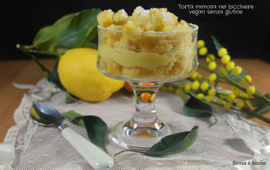 Torta mimosa senza glutine e vegan nel bicchiere