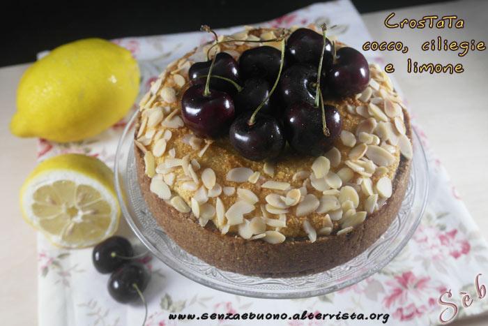 Crostata cocco, ciliegie e limone