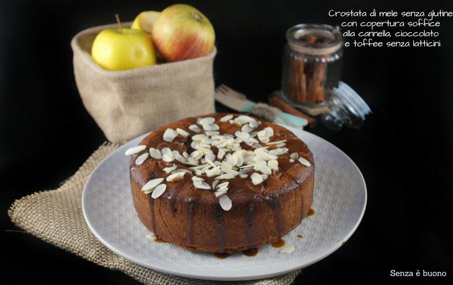 Crostata di mele senza glutine con copertura morbida cannella e cioccolato