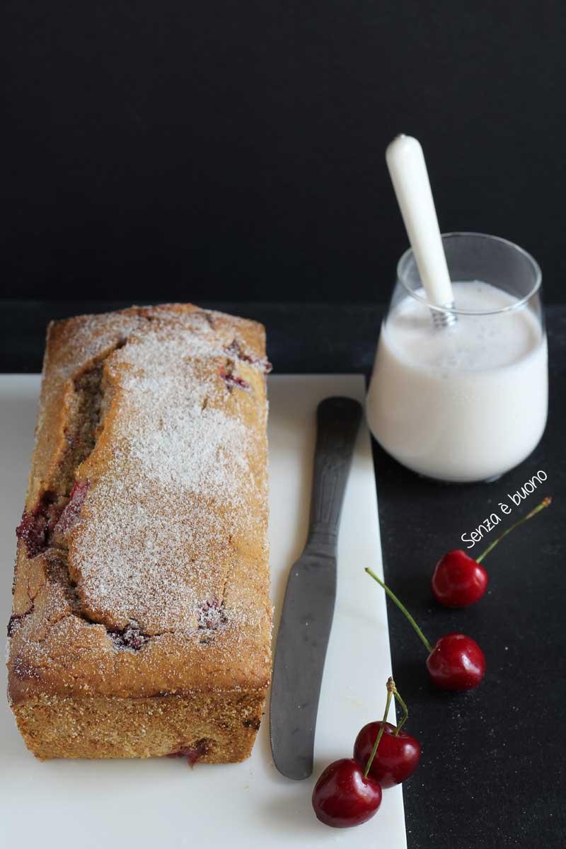 Plumcake con ciliegie senza glutine senza latte