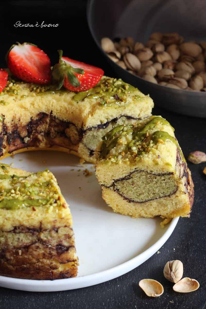 torta veriegata senza glutine al pistacchio e cocco