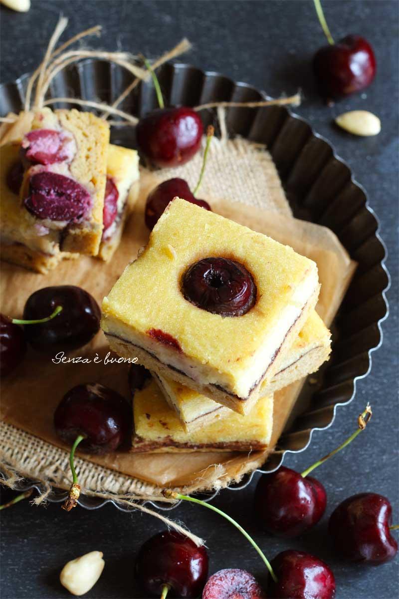 torta alla ricotta vegetale e ciliegie