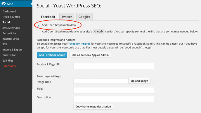 seo yoast graph settings