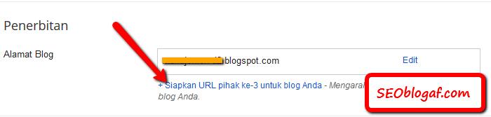 Masukkan nama domain di blogspot