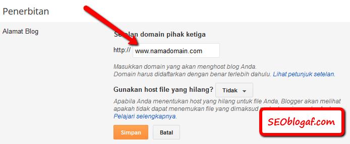 masukkan www pada blogspot