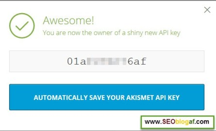 AUTOMATICALLY SAVE YOUR AKISMET API KEY