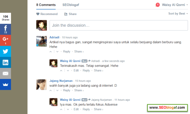 berinteraksi dengan pengunjung lewat komentar
