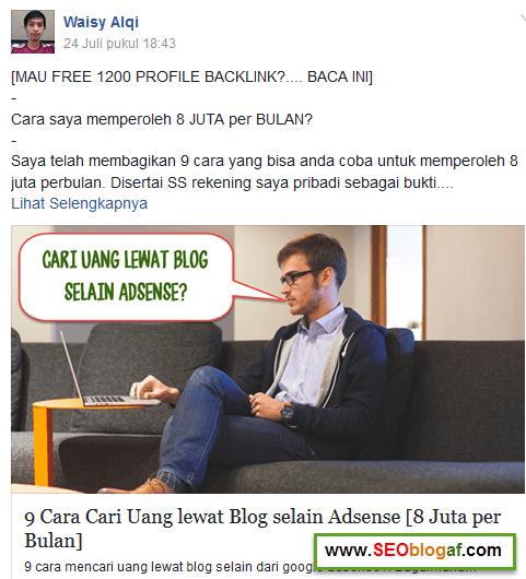 promosi blog di grup facebook