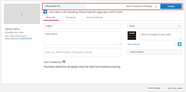 Tungu proses video upload di youtube