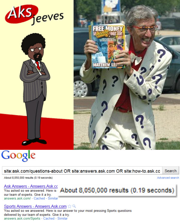 Aks from ebaumsworld + Matthew Lesko image from Popefauvexxiii  on Wikipedia + Google search result showing indexed Ask 'answer' pages.