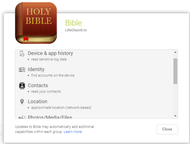 Holy Bible App Permissions