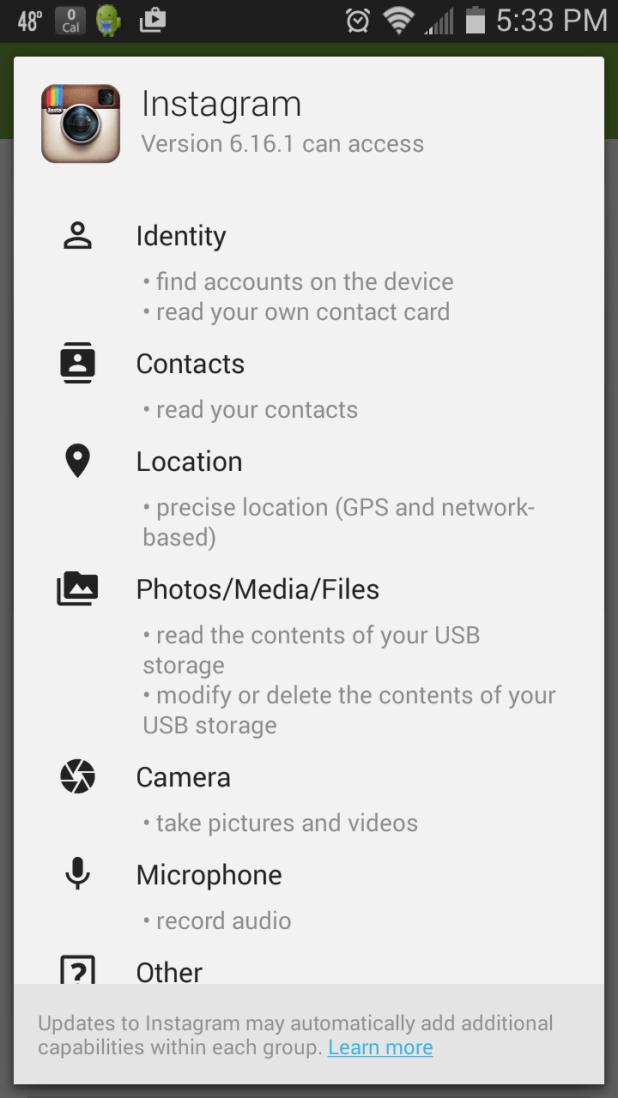 Instagram Mobile App Permissions
